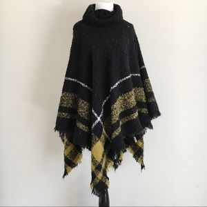 World Market Black Yellow Knit Poncho Pullover